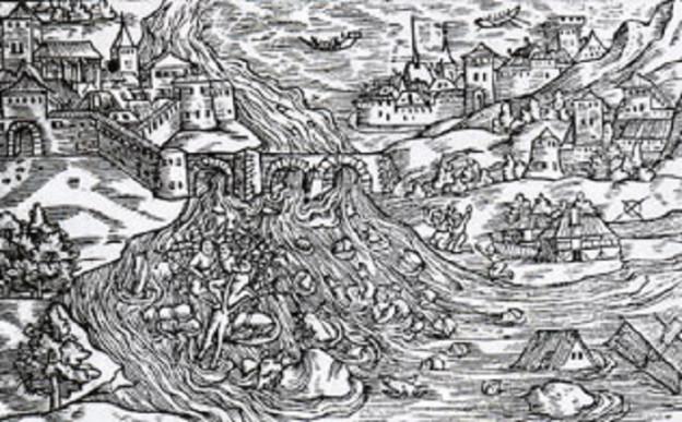 Eine Xilographie aus dem Jahr 1548 zeigt, wie Bellinzona nach dem Dammbruch von 1515 überflutet wird.