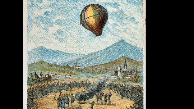 Die Gebrüder Montgolfier starten ihren Gasballon.