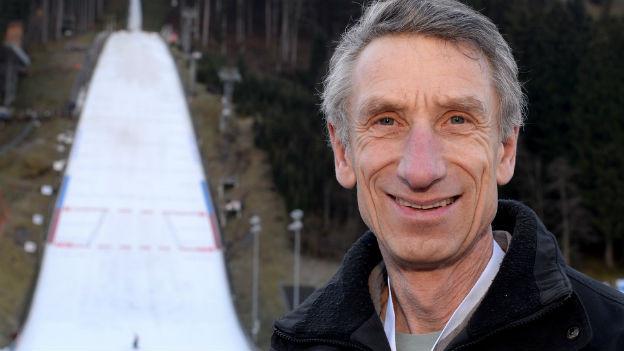 Skispringer Walter Steiner vulgo «Vogelmensch».