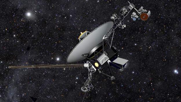 Künstlerische Darstellung der NASA Raumsonde im Weltall inmitten von funkelnden Sternen.