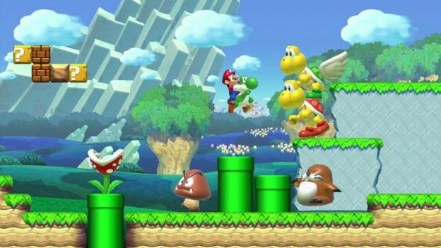 Ein Szene aus einem Super Mario-Game, dreidimensional, die Hauptfigur fliegt auf einem Drachen, es gibt bösartige Pilze, grüne Säulen, Bäume und fliegende Schildkröten.