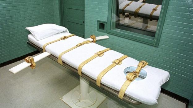 Die Liege im Todestrakt von Huntsville in Texas.