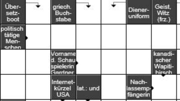 Triumph des Allgemeinwissens: Kreuzworträtsel.