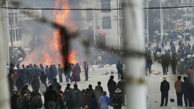 Proteste für die Unabhängigkeit Tibets, 2008.
