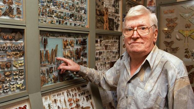 Der Insektenforscher und Tiermaler in seinem Atelier in Ebikon im Mai 1999.