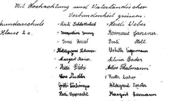 Schülerinnenbrief aus Rorschach an den Bundesrat, 1942