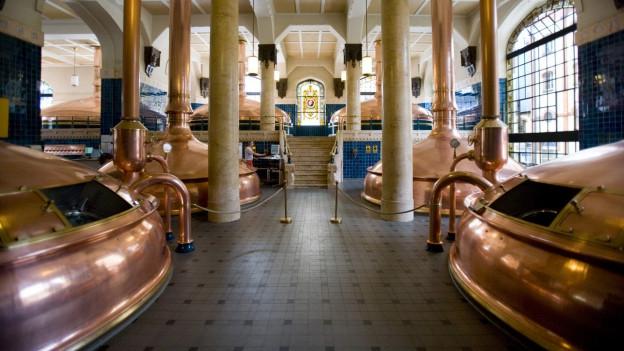 Auf dem Bild ist ein Sudhaus in der Brauerei Feldschlösschen in Rheinfelden zu sehen.