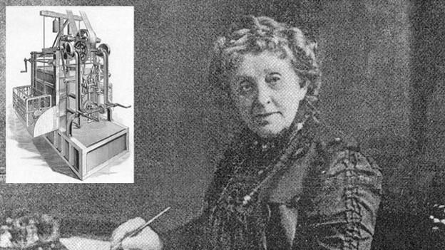 Josephine Cochrane mit ihrer Erfindung