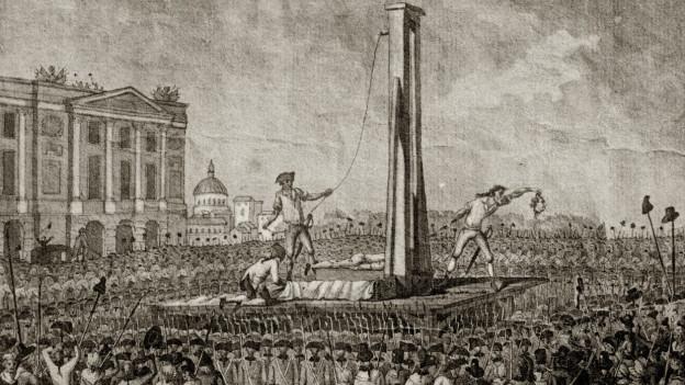 Auf einem Platz in Paris wird König Ludwig der sechzehnte hingerichtet.