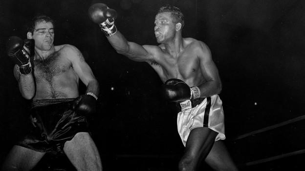 Zwei Boxer beim Kampf im Ring