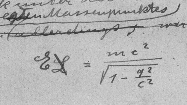 E=mc2 in Handschrift von Albert Einstein.