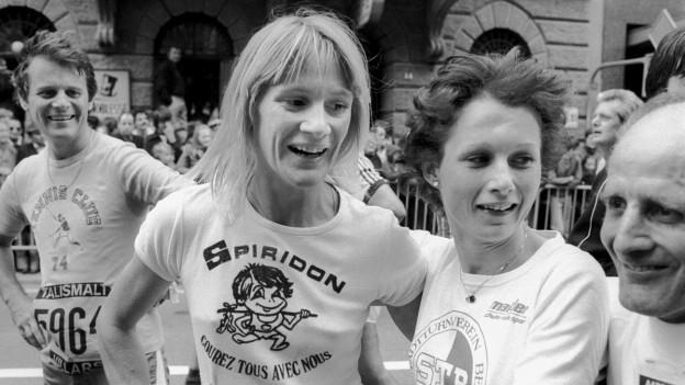 Die Leichtathletin Marijke Moser gewinnt am 2. Oktober 1977 den Murtenlauf.