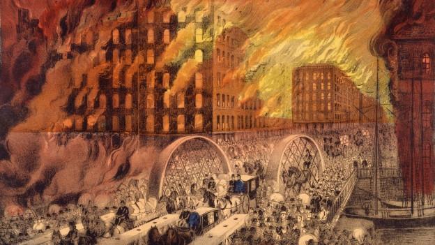 Menschen verlassen das brennende Chicago im Oktober 1871. Illustration von Currier & Ives.