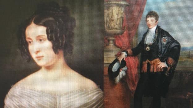 Das junge Paar: Therese (Gemälde von 1810) und Kronprinz Ludwig (Gemälde von 1807)