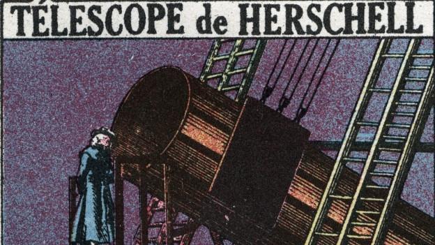 Illustration von Wilhelm Herschel und einem Teleskop