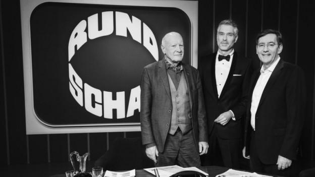 Erich Gysling, Sandro Brotz und Hannes Britschgi zur Jubiläumssendung 2018.
