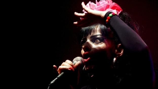 Die Sängerin Nina Hagen bei einem Auftritt