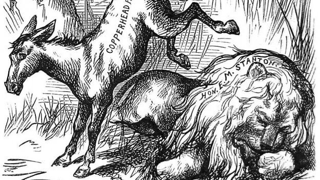 Der demokratische Esel tritt einen toten Löwen.