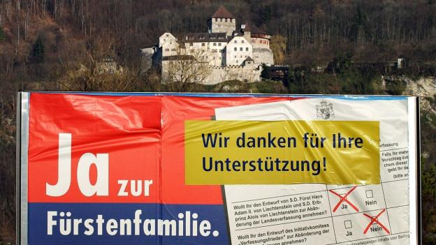 Der Fürst gewann: Plakat nach der Abstimmung zur Fürsteninitiative
