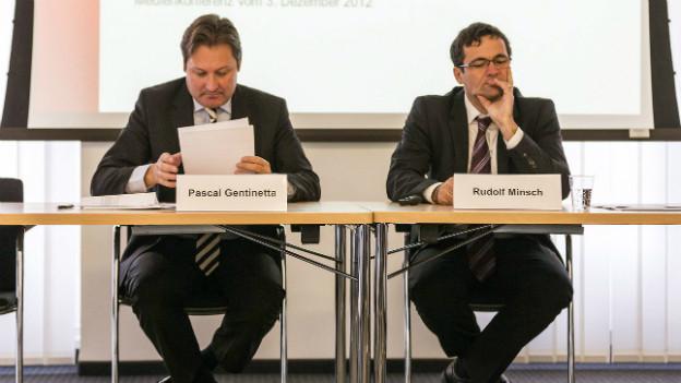 Der eine geht, der andere kommt: Pascal Gentinetta gibt sein Amt ab, Rudolf Minsch übernimmt ad interim.