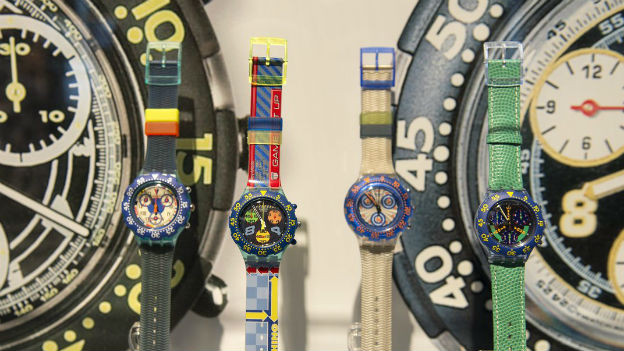 Swatch-Uhren an der Uhrenmesse Basel.