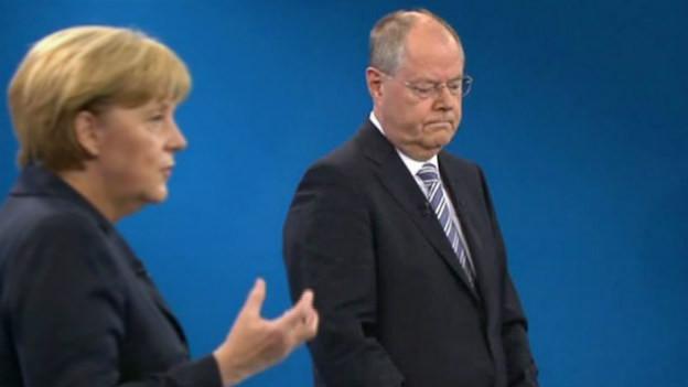 Peer Steinbrück beim TV-Duell mit Angela Merkel.
