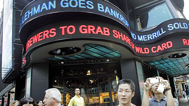 Auf dem Times Square in New York am 15. September 2008.