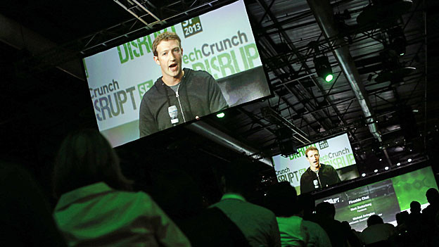 Chat-Session mit Facebook-Chef Zuckerberg - an der Messe «TechCrunch Distrupt 2013» in San Francisco.