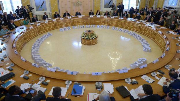 Sitzungsrunde am diesjährigen G20-Gipfel in St. Petersburg.