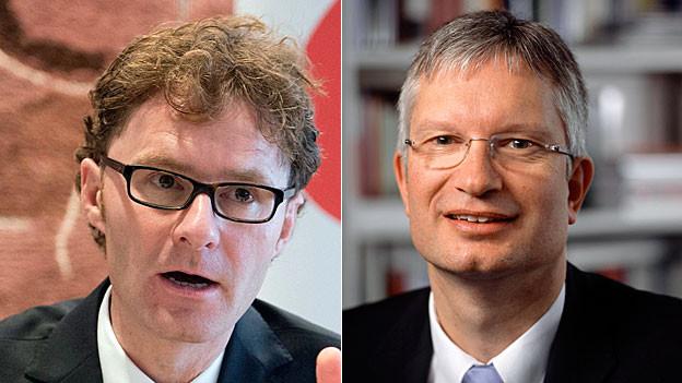 Roland Müller, Direktor des Schweizerischen Arbeitgeberverbands, und Daniel Lampart, Chefökonom des Schweizerischen Gewerkschaftsbunds.