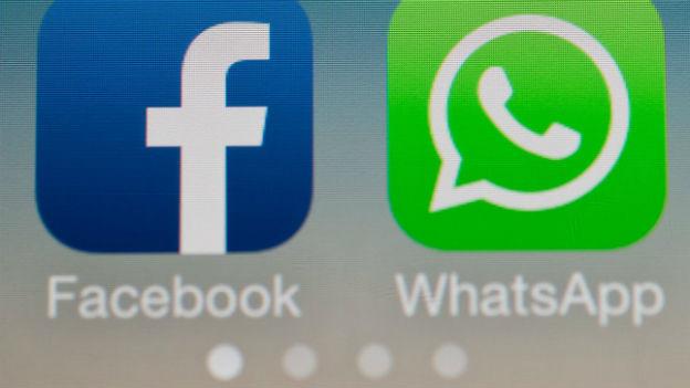 Symbolbilder für die Unternehmen Facebook und WhatsApp