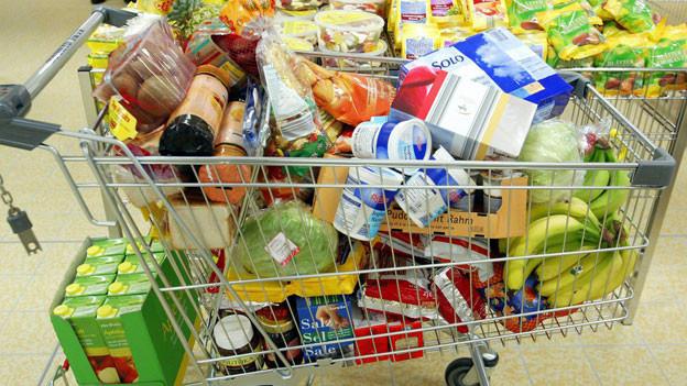 Einkaufen im neu eröffneten Aldi Supermarkt in Küssnacht im Februar 2006.