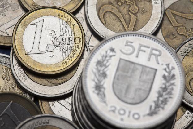 Franken- und Euromünzen.
