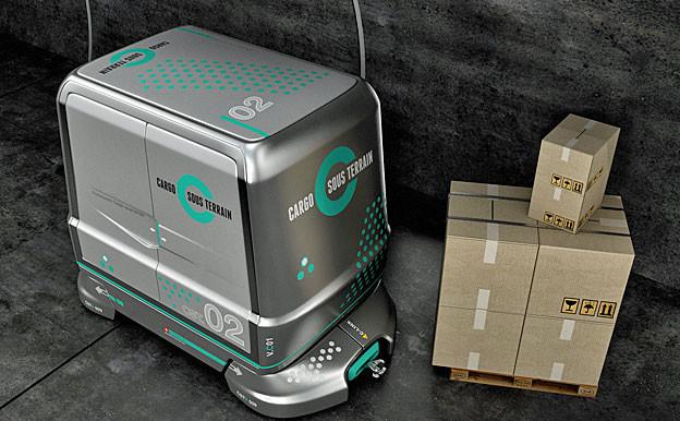 Computergrafik eines Cargo Containers.