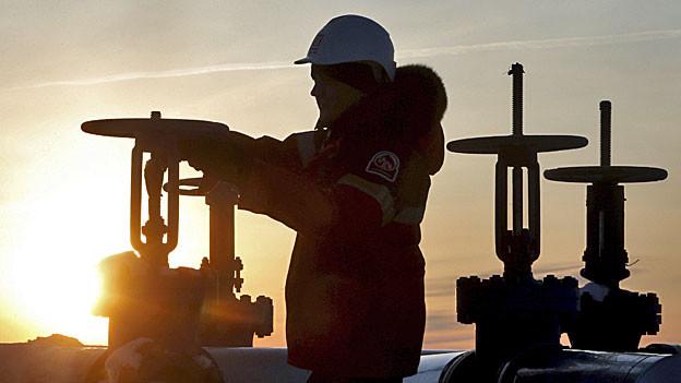 Erdölarbeiter in Sibierien.