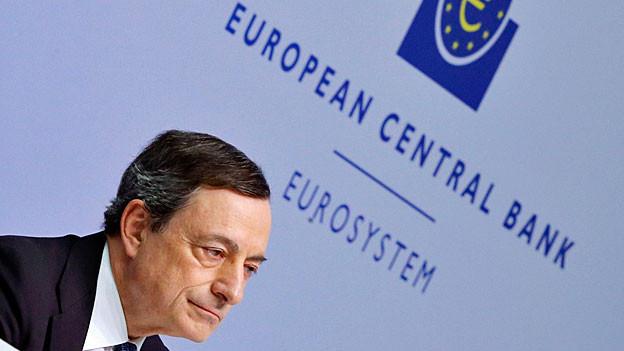 EZB-Chef Mario Draghi an der Medienkonferenz in Frankfurt a.M..