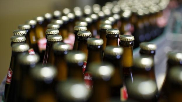 Zig Bierflaschen auf einem Förderband