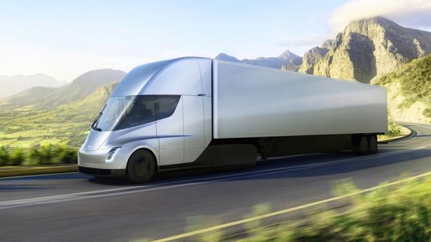 Das Bild zeigt den ersten E-Lastwagen aus dem Hause Tesla.