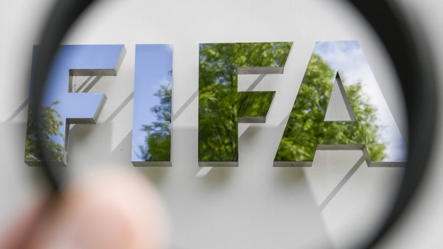 Blick durch eine Linse auf das Fifa-Logo.