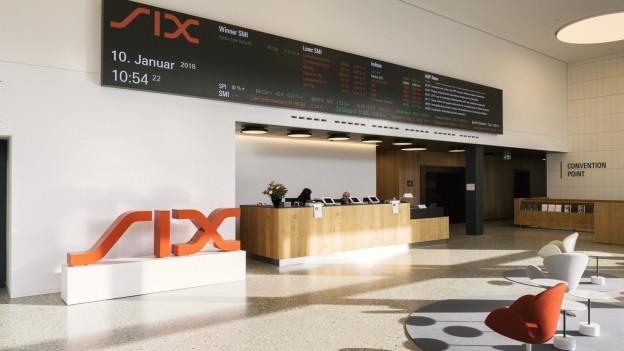 Der Eingangsbereich der Schweizer Börse Six.