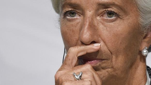 Nahaufnahme von IWF-Chefin Christine Lagarde.