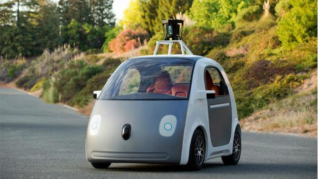 Der erste Prototyp des neuen Google-Autos.