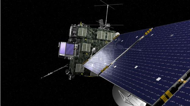 Das Bild zeigt das Weltall und in Grossaufnahme die Rosetta-Sonde rechts vorne mit ihren grossen Sonnensegeln.