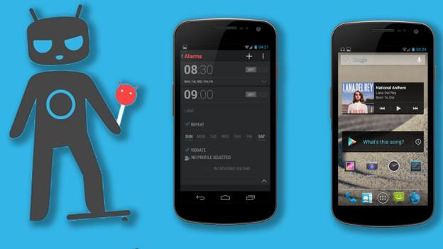 Fotomontage: Ein Teufelchen und zwei Smartphones liegen auf blauem Hintergrund.
