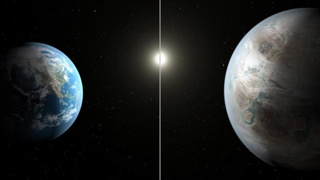 Auf dem Bild (rechts) ist der neu entdeckte Exoplanet Kepler-452b zu sehen, der rund 60 Prozent grösser ist als die Erde (Bild links)