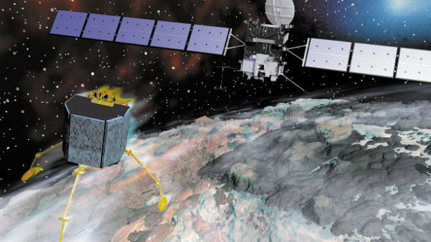 Das Bild das Weltall: Im Hintergrund die Raumsonde Rosetta, im Vordergrund das Minilabor Philae