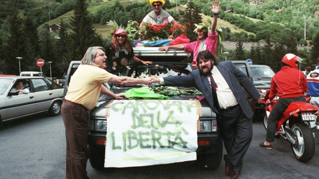 Protestaktion der Lega im Sommer 1991.