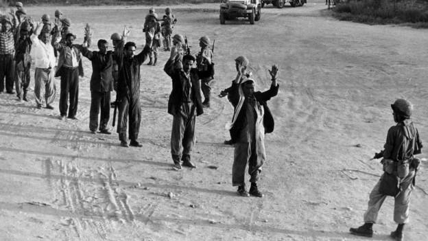 Palästinensische Gefangene im Gaza-Streifen während des Sechstagekriegs im Juni 1967.