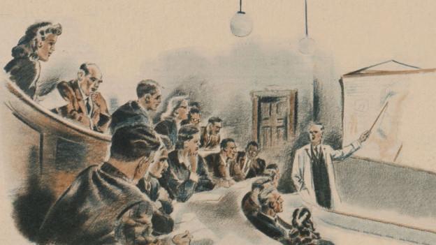 Illustrierter Hörsaal, verschiedene Personen blicken zum Dozenten im weissen Kittel.
