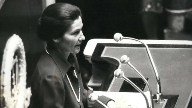 Aufnahme von Simone Veil, Kämpferin für Frauenrechte in Frankreich und Holocaust-Überlebende